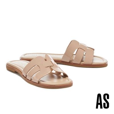 拖鞋 AS 質感光澤超軟小皺漆皮低跟拖鞋-粉
