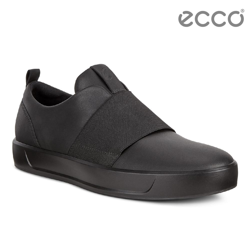 ECCO SOFT 8 MEN S 簡約撞色鬆緊帶設計休閒鞋 男-黑