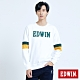 EDWIN 塗鴉系列 運動風配色厚長袖T恤-男-白色 product thumbnail 1