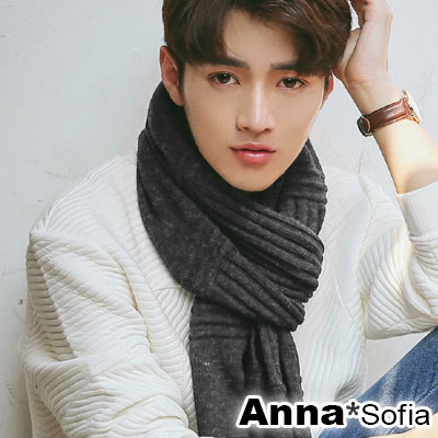AnnaSofia 豎直交錯織飾牌 混羊毛線織披肩圍巾(灰黑系)