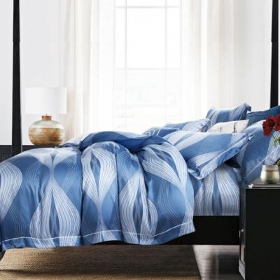 Saint Rose頂級精緻100%天絲床罩八件組(包覆高度35CM)-波特利-藍 雙人