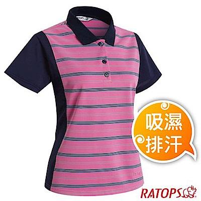 瑞多仕 女 COOLMAX 輕量透氣短袖條紋POLO衫_DB8954