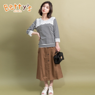 betty's貝蒂思 前開釦腰帶裝飾長裙(駝色)