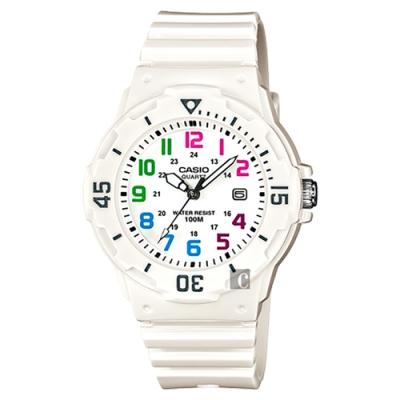 CASIO 卡西歐 迷你運動風指針手錶-彩色x白(LRW-200H-7BVDF)