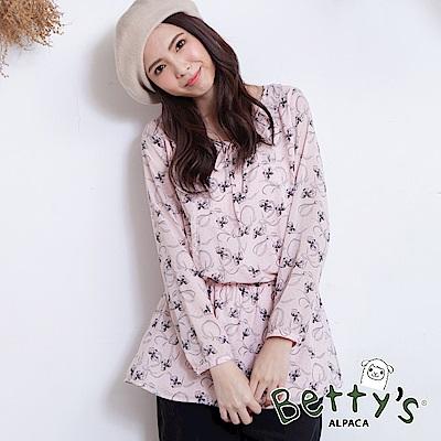 betty's貝蒂思 氣質蝴蝶結造型鬆緊上衣(淺粉)