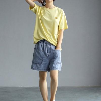 笑臉印花純棉圓領T恤百搭韓版短袖上衣四色-設計所在