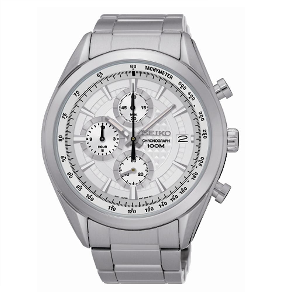 SEIKO CS時尚新美學計時腕錶/白面/8T67-00A0S
