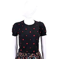 MARELLA 小紅毛球黑色澎澎袖針織羊毛衫