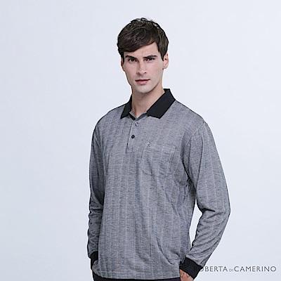 ROBERTA諾貝達 台灣製 都會時尚 純棉長袖POLO衫  黑灰