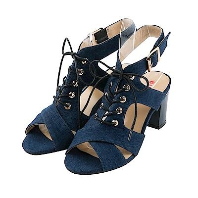 BESO 時尚魅力 牛仔綁帶蝴蝶結羅馬粗跟涼鞋~藍