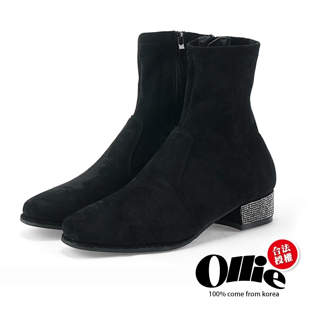 Aviator韓國空運-厚底水鑽粗跟短靴-ollie預購