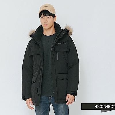 H:CONNECT 韓國品牌 男裝-雙口袋連帽羽絨外套-黑