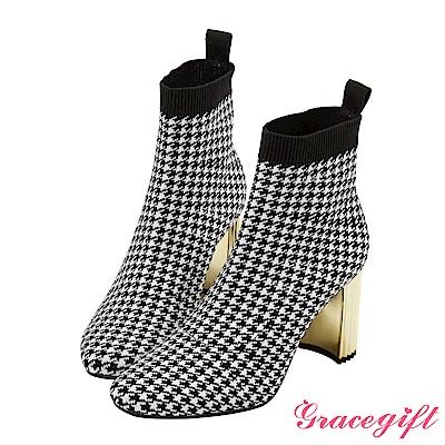 Grace gift X Wei唐葳-金屬造型跟針織襪靴 格紋