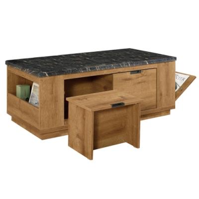 文創集 吉姆 現代4.4尺石面二抽大茶几(附贈椅凳二張)-131x71x50.5cm免組