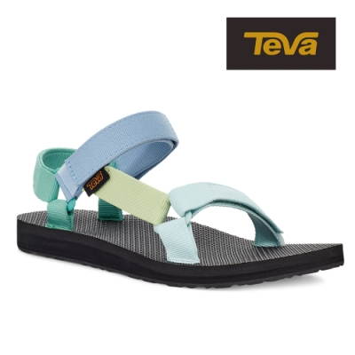【TEVA】原廠貨 女 Original Universal 經典緹花織帶涼鞋/雨鞋/水鞋(青藍綠-TV1003987LGRM)