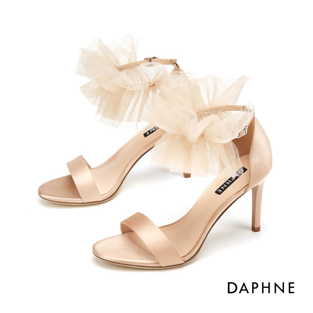 達芙妮DAPHNE 涼鞋-輕奢鍛面蕾絲花朵踝帶高跟涼鞋-杏色 @ Y!購物