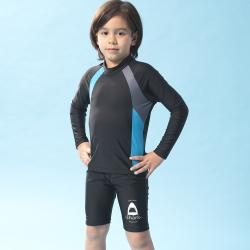 聖手牌 兒童泳裝 素面長袖防曬防寒兩件式兒童泳裝水母裝