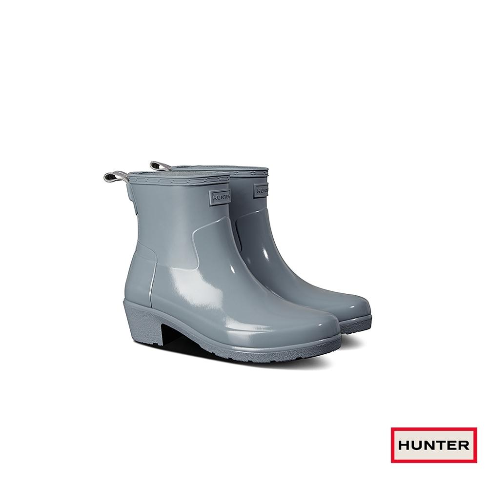 HUNTER - 女鞋 - Refined低跟拼接亮面踝靴 - 灰
