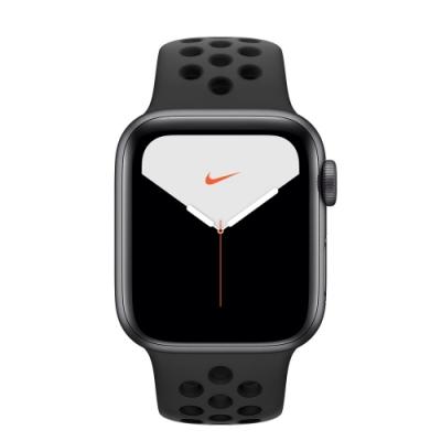 [無卡分期-12期]Apple Watch Nike S5(GPS) 40mm太空灰鋁金屬錶殼黑錶帶