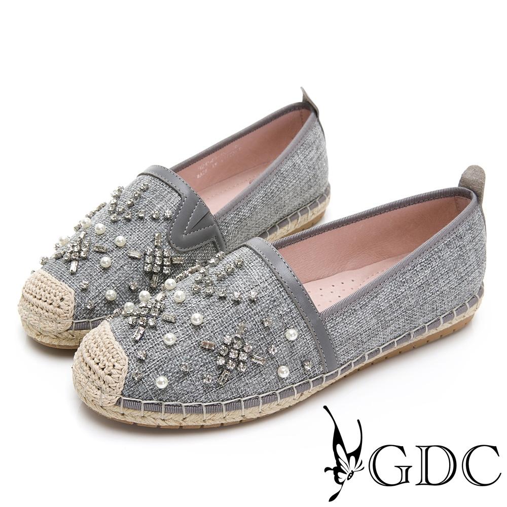 GDC-小香風珍珠草編水鑽春夏漁夫鞋-灰色