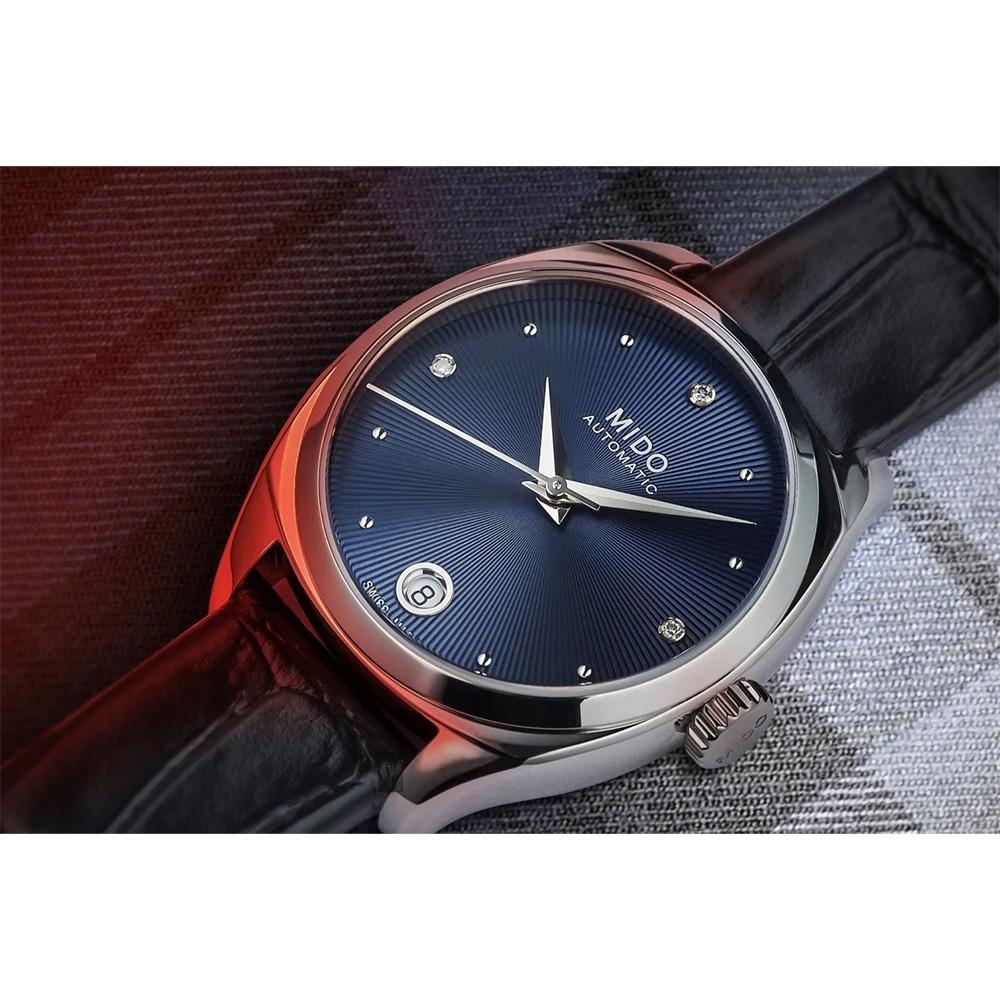 MIDO 美度 Belluna 皇室藍 真鑽機械女錶-33mm M0243071604600