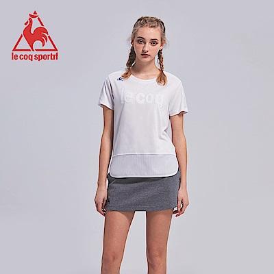 le coq sportif 法國公雞牌運動網布剪接短袖T恤 女-白