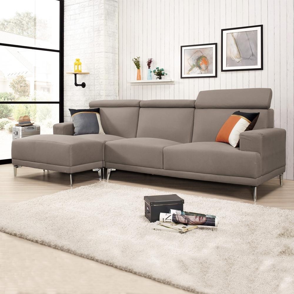 Boden-蒙斯L型機能貓抓皮沙發椅(三人座+腳椅)(贈抱枕)