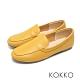 KOKKO超彈力寬版平底素面小牛皮休閒鞋亮麗黃 product thumbnail 1