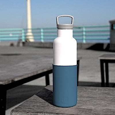 美國HYDY時尚保溫瓶_CinCin White海軍藍-白瓶 590ml