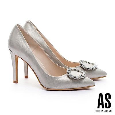 高跟鞋 AS 奢華白鑽圓釦金屬羊皮美型尖頭高跟鞋-金
