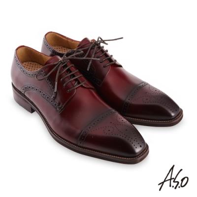 A.S.O 職場通勤勁步健康刷色工藝德比紳士鞋-酒紅