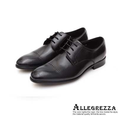 ALLEGREZZA真皮男鞋-重返時尚-鞋面花紋縷空穿孔德比鞋 黑色