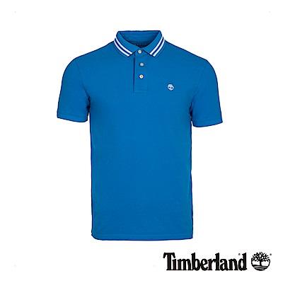Timberland 男款靛藍色刺繡LOGO修身針織短袖POLO衫|A1W35