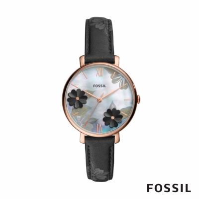 FOSSIL JACQUELINE 百魅儷人皮革女錶-黑色 36MM ES4535