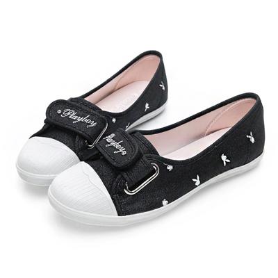 PLAYBOY 亮蔥輕便丹寧帆布便鞋-黑-Y5206CC