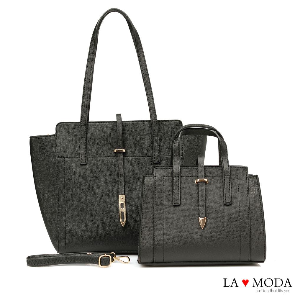 La Moda 優雅百搭大容量肩背斜背子母包托特包(黑)