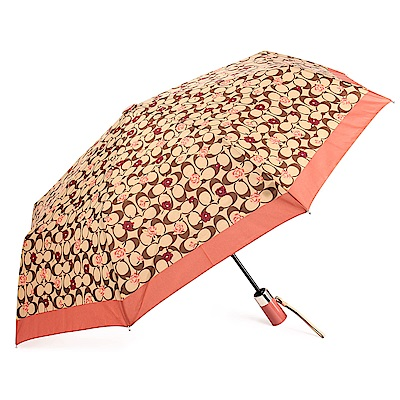 COACH 經典滿版LOGO玫瑰花圖案全自動開闔晴雨傘-卡其/粉橘色