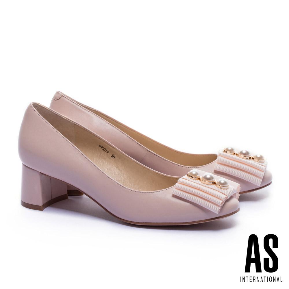 高跟鞋 AS 典雅珍珠織帶復古造型全真皮高跟鞋-粉