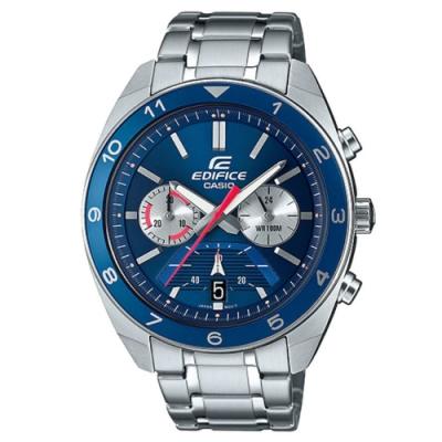 EDIFICE 帥奇超高性能賽車風格不鏽鋼腕錶-藍(EFV-590D-2A)/50.6mm