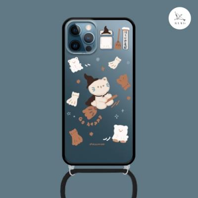 漁夫原創 iPhone 12 mini 手機殼 防摔保護殼 巫女薑餅貓(黑邊) 透明軟殼 含斜跨掛繩