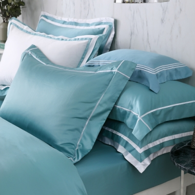 OLIVIA  Hamilton 綠 加大雙人床包枕套三件組 500織高織紗匹馬棉