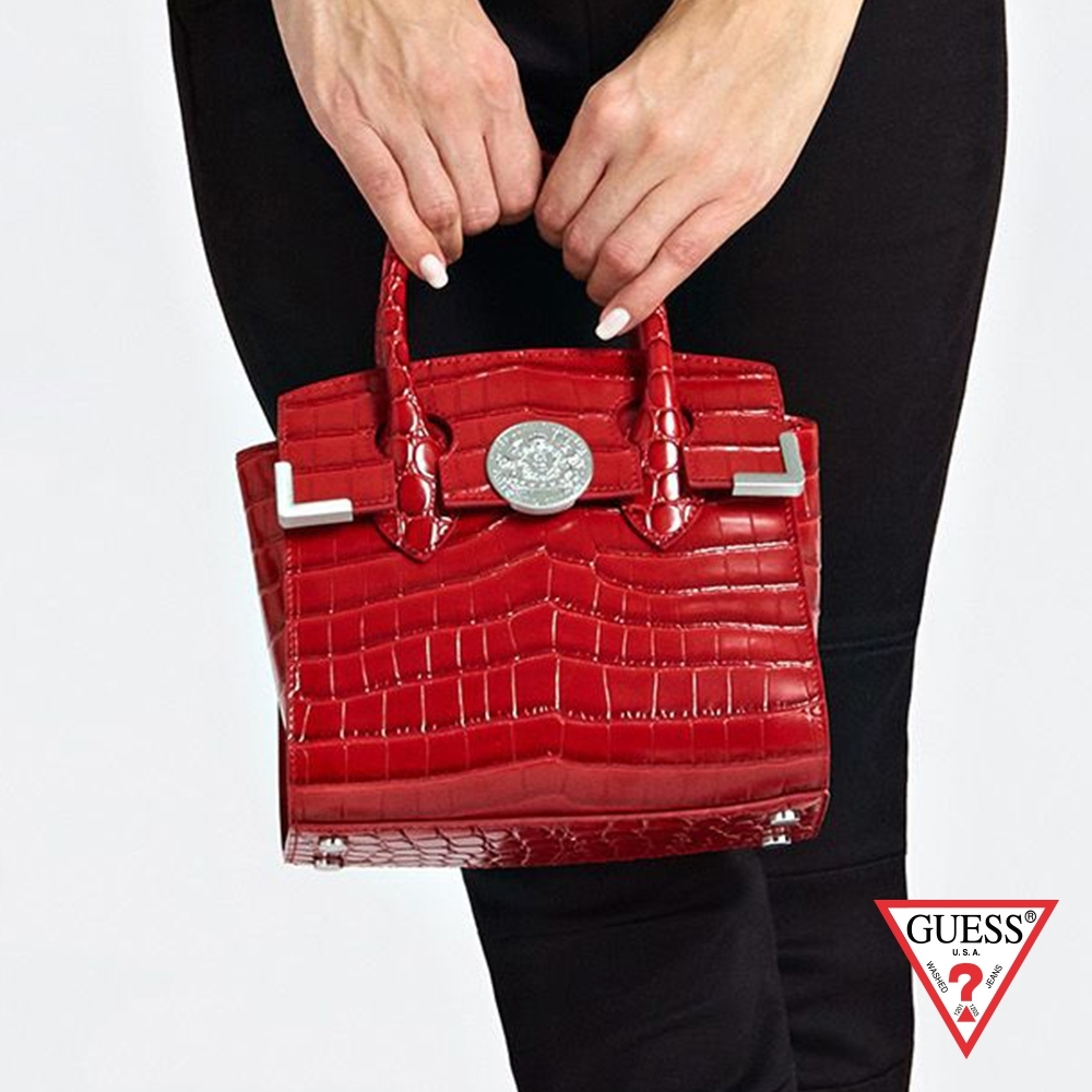 GUESS-女包-鱷魚壓紋手提肩背包-紅 原價6490