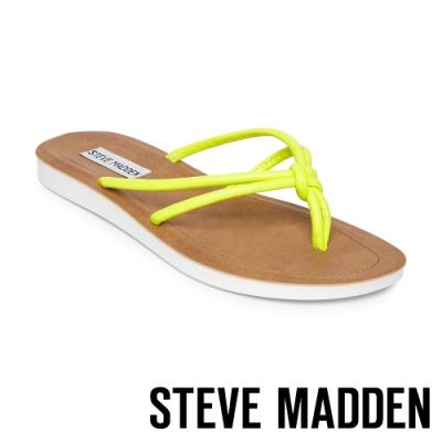 STEVE MADDEN-ALLOW 簡約亮彩扭結T字平底拖鞋-霓黃