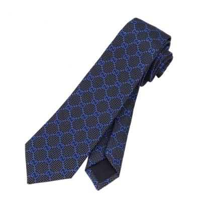 GUCCI 滿版GG 蠶絲男仕領帶(深藍)