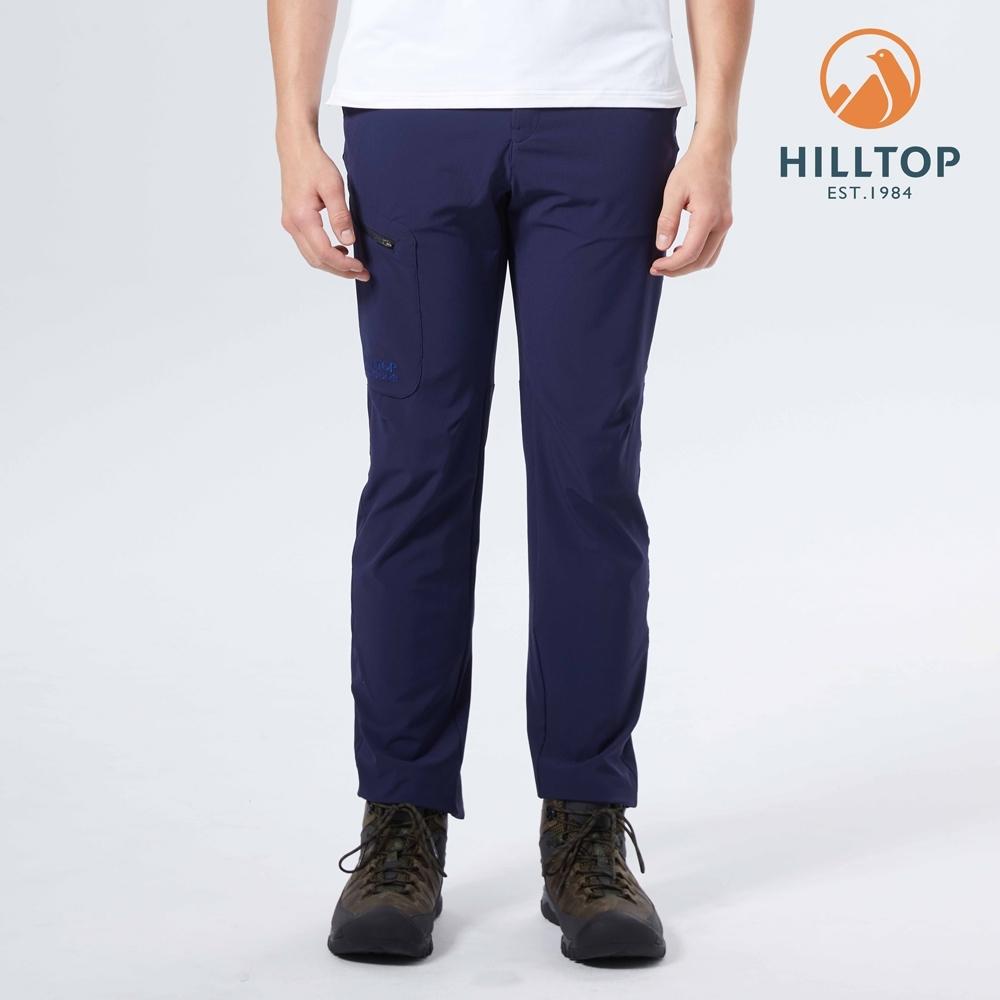 【hilltop山頂鳥】男款超潑水抗UV彈性戶外休閒長褲S07MD9藍