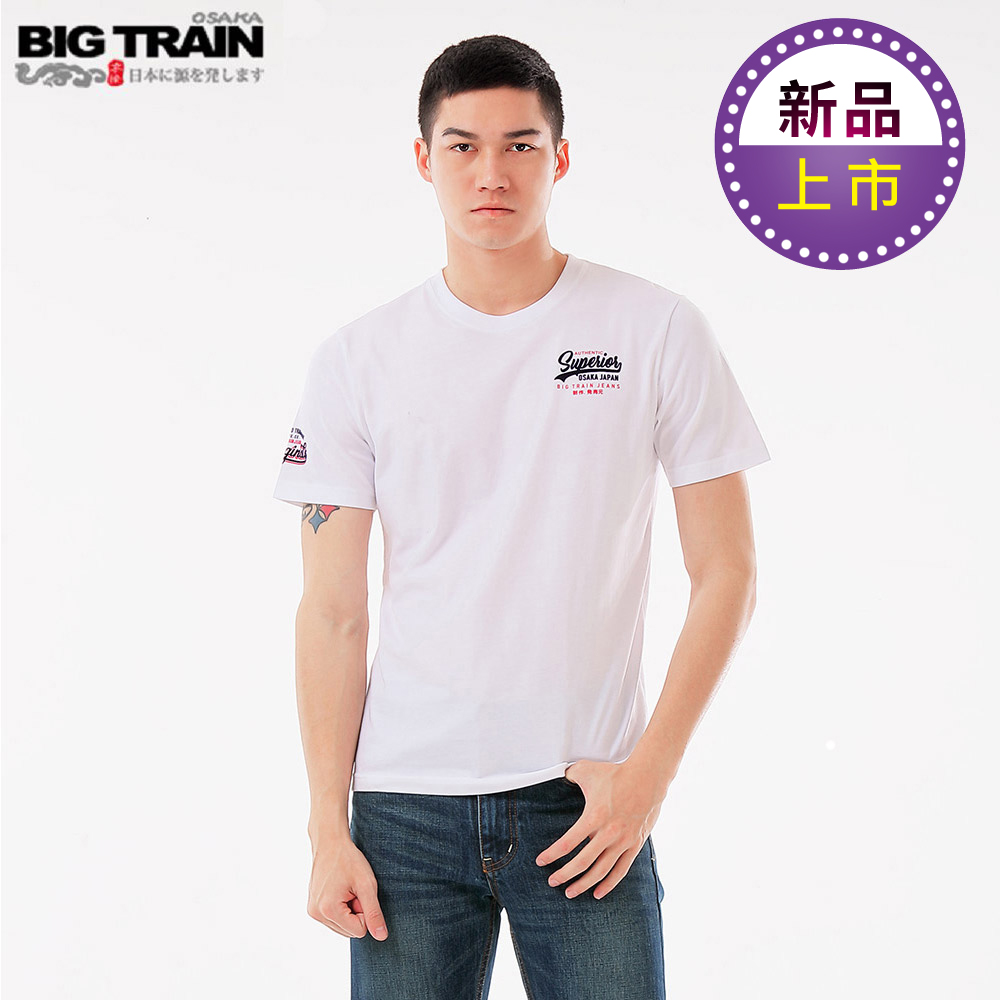 BigTrainLOGO文字圓領短袖T-男-白色
