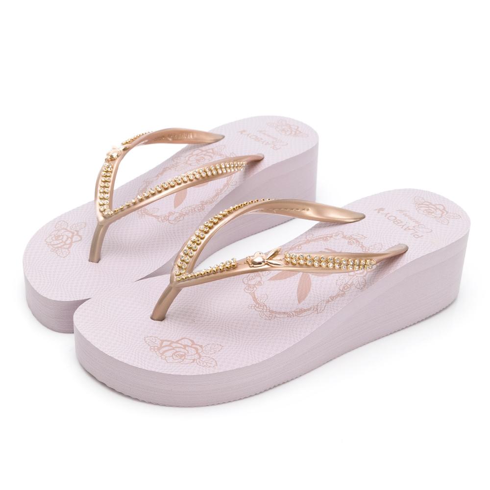 PLAYBOY 復古美型 夾腳厚底拖鞋-粉紫-YT7079A