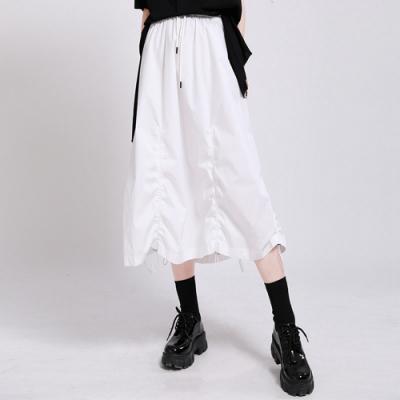 小眾抽繩皺摺鬆緊腰不規則半身裙S-L(共二色)-CLORI