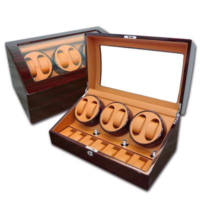 機械錶自動上鍊收藏盒 3旋6入錶座轉動+7入收藏 鋼琴烤漆 - 黃棕x紅褐木紋