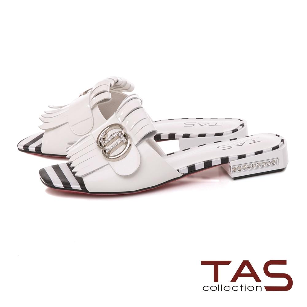 TAS 流蘇釦環漆皮涼拖鞋-人氣白